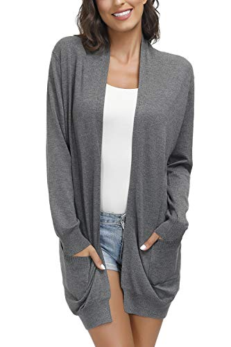 Yidarton Women Open Front Cardigan Sweaters Pockets Long Sleeve Shrugs Deep Gray M