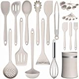 Silicone Cooking Utensil Kitchen Utensil Set, 24 Pcs Non-stick Cooking Utensils Spatula Set with Holder by AIKKIL, Heat Resistant Kitchen Gadgets Tools Set for Cookware(Khaki) Roll over image to zoom
