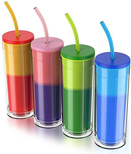 Farbwechselnde Becher mit Strohhalm & Deckel - 473ml | 16oz Eiskaffee Reise-Becher - Wiederverwendbar Kaffeebecher to go Thermoskanne Trinkflasche Tasse für Kaffee oder Bier Thermobecher