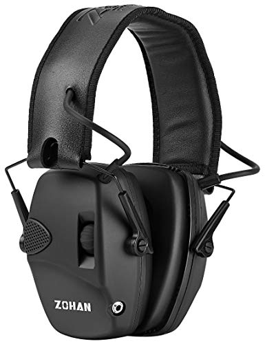 ZOHAN EM054 Electronic Ear Protection for Shooting Range with Sound Amplification Noise Reduction, Ear Muffs for Gun Range - Black