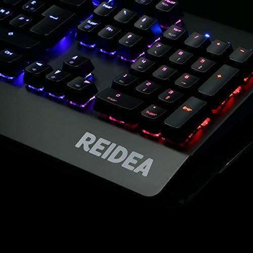 REIDEA KM06 Mechanische Gaming Tastatur, USB Deutsch Tastatur mit Red Switch und Full RGB Beleuchtung [DE Layout], Schwarz