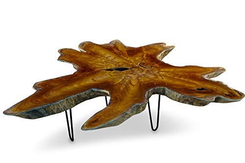 Teak Couchtisch LUHU - 100x120cm Tischplatte aus massiver Wurzelholz Baumscheibe im rustikalen Landhausstil, geeignet für Wohnzimmer, Wintergarten oder als Kaffeetisch
