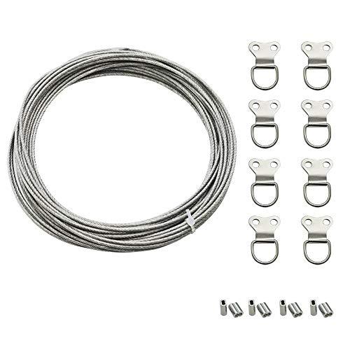 Drahtseil 2mm, 304 Edelstahlseil mit Kunststoffmantel, Stahlseil mit 8 Pressösen und 8 Bild Aufhänger, Drahtseil Edelstahl für Gardinenaufhängung, Bildaufhängung, Lichtfederung (8m)