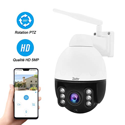 Cámara IP WiFi PTZ de 5MP para Exteriores, cámara Domo de Alta Velocidad Mini HD, Zoom óptico 4X, Vesion Nocturna IR, Audio bidireccional, IP66, Compatible con Tarjeta SD MAX 128G