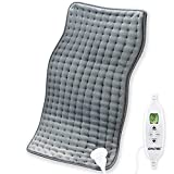 QALTGC Heating Pad for Back Pain and Cramp Relief Extra Large 12' x 24' Size Electric Heat Pad 10 Temperature Level 9Timer Settings Auto Shut Off Moist and Dry Therapy for Shoulder Neck Soft Washable