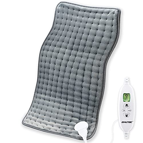 """QALTGC Heating Pad for Back Pain and Cramp Relief Extra Large 12"""" x 24"""" Size Electric Heat Pad 10 Temperature Level 9Timer Settings Auto Shut Off Moist and Dry Therapy for Shoulder Neck Soft Washable"""