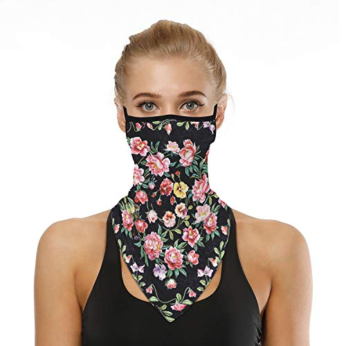 Masks Face Bandana Ear Loops Stylish Scarfs Men Womens Neck Gaiters Loop for Dust Wind Athletic Motorcycle