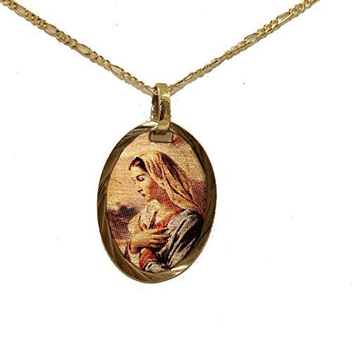 Medalla de Virgen María de Diamantados de Florida, Medalla chapada en Oro de 14 Quilates con Cadena de 45 cm