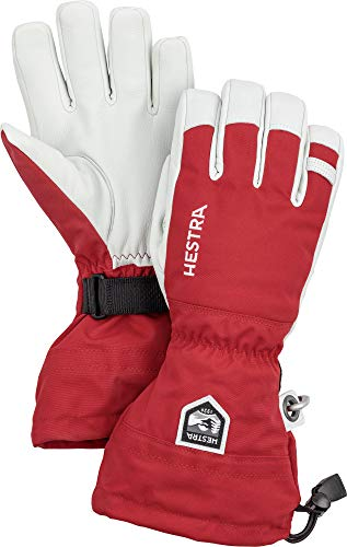 Hestra Army Leather Heli Ski Glove - Classic 5-Finger Snow Glove for Skiing and Mountaineering - Red - 9