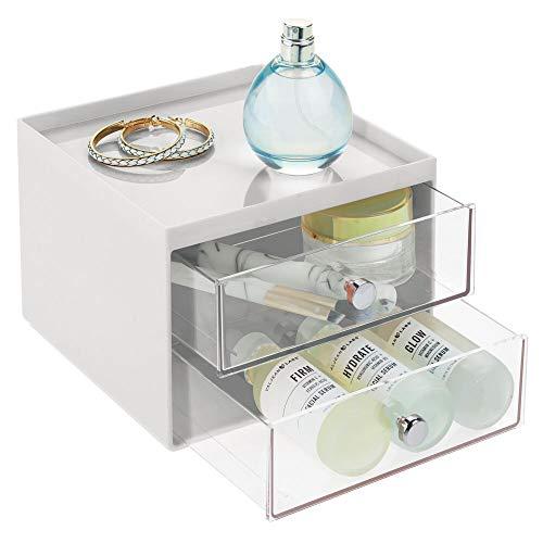 mDesign Make-up Organizer – stapelbare Aufbewahrungsbox mit 2 Schubladen für Mascara, Puder,...