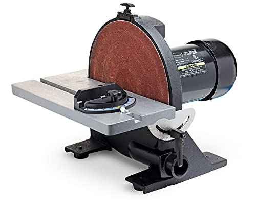 Product Image of the Eastwood 12in Heavy Duty Disc Sander Cast Iron Vacuum Port and Base Adjustable Angle Rubber Feet Vibration Free with Miter Gauge