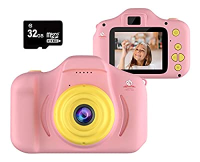 EMAAS Kids Camera Children - Digital Camera for Kids - Selfie Camera for Girls and Boys - Age 3 4 5 6 7 8 9 10 with 32GB SD Card Pink - Toddler Video Recorder and Photography– Includes 32GB SD Card from EMAAS