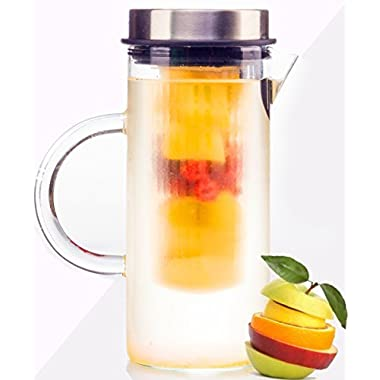 Infusion Pitcher for Lemon Fruits Herbs Ice Tea, Borosilicate Glass, Stylish Design Stainless Steel Lid, Full Blended Drink, Juice Boost 1000ml by bobuCuisine