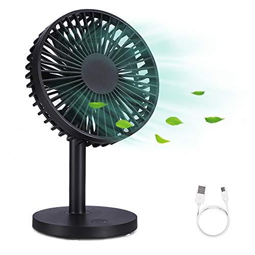 WD&CD Ventilatore USB Portatile da Tavolo Portatile Ventilatore da Tavolo Silenzioso Mini Fan con 3 velocità Regolabili, Ventola Raffreddamento per Casa, Ufficio, Camera da Letto e Altro - Nero