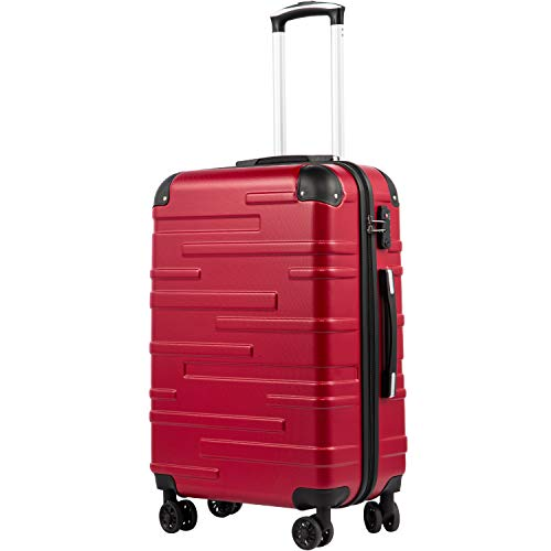 COOLIFE Expandable Suitcase(Only L Size Expandable) Hard Shell Luggage with TSA Lock and 4 Spinner Wheels Lightweight 2 Year Warranty Durable(red, L(77cm 93L))