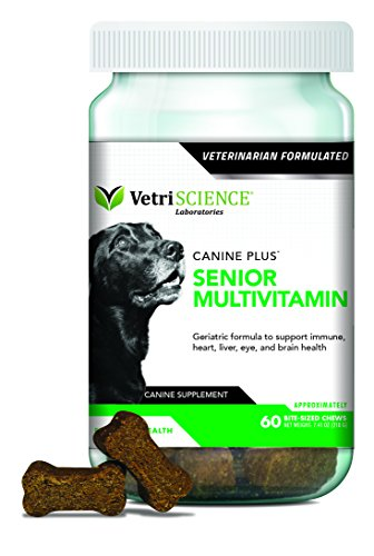 VetriScience Laboratories-Canine Plus Senior, Multivitamin for Older dogs-60 Bite Sized Soft Chews