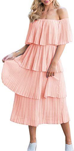 ETCYY NEW Women's Off The Shoulder Sleeveless Tiered Ruffle Pleated Casual Midi Dress Deep Pink