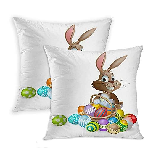 LINGF Funda de Almohada Huevos de Pascua Juego de 2 Fundas de Almohada Adorable Conejo de Pascua Conejo Cesta de Huevos Coloridos Funda de Almohada Cojín de 20 x 20 Pulgadas