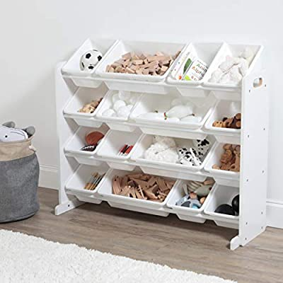 Humble Crew Extra-Large Toy Organizer, 16 Storage Bins, White/White from Humble Crew