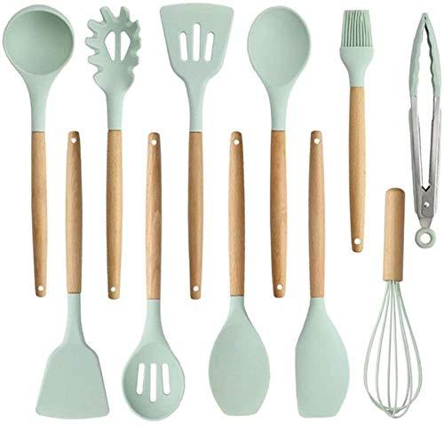 SHATOUYU 11PC Silicone Non-Stick Kitchen Utensils, Silica Gel Kitchen Utensils Set Spatula Set Cooker, Non-Stick, Plastic Dish Rack with Bakeware, Green SA620