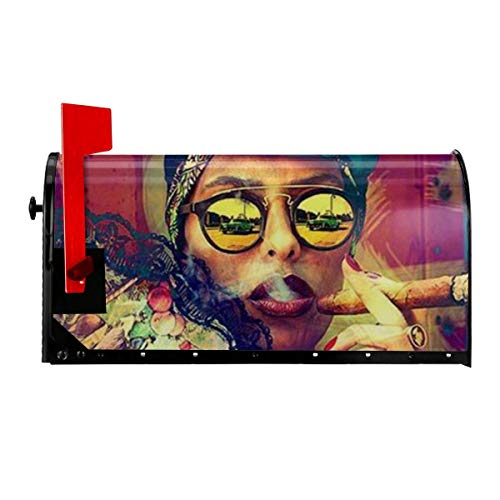 Odeletqweenry Afrikaanse Vrouwen Roken Print Mailbox Cover Magnetische mailbox Wraps Post Letter Box Cover Standaard Grootte 21 x 18 Inch Waterdichte Canvas Mailbox Cover