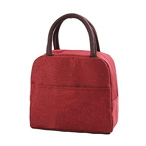 DJDEFK Bolsa térmica para almuerzo con patrón funcional, caja de almuerzo portátil, aislante, lona, bolsas térmicas para comida de picnic para mujeres y niños (color: 2PCSB rojo vino)