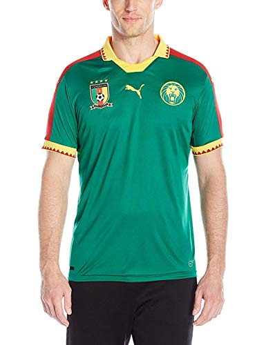 PUMA Men's Cameroon Home Replica Shirt, Power Green/Chili Pepper, Small