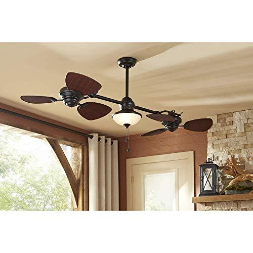 Harbor Breeze Twin Breeze Ii 74-in Oil-rubbed Bronze Outdoor Downrod Ceiling Fan