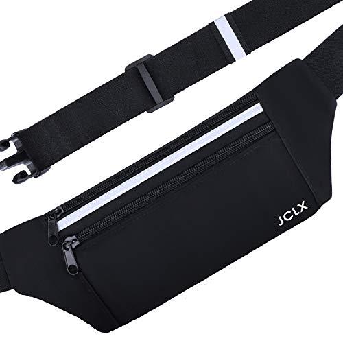 JCLX Running Waist Packs, Ultra Light Bounce Free Waist Pouch Fitness Workout Belt Sport Waist Pack Exercise Waist Bag for Apple iPhone 8 X 7 6+ 5s Samsung in Running Gym Marathon Cycling (Black)
