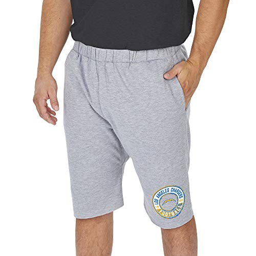Zubaz NFL Los Angeles Chargers Men's Cut-Off Sweat Short, Light Heather Gray, X-Large
