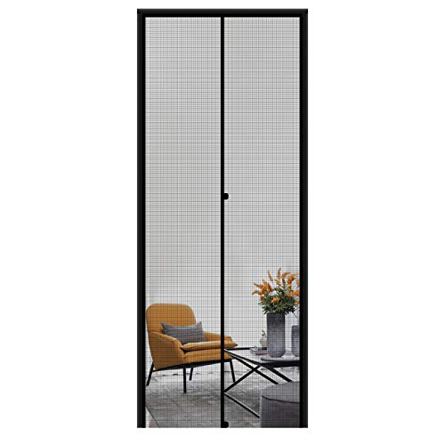 MAGZO Magnetic Screen Door 36'' x 96'' Black, Durable Fiberglass Middle Opening Screen Doors with Magnets Fit Door Size 36' x 96' Sliding Glass Magnets Screen Door with Full Frame