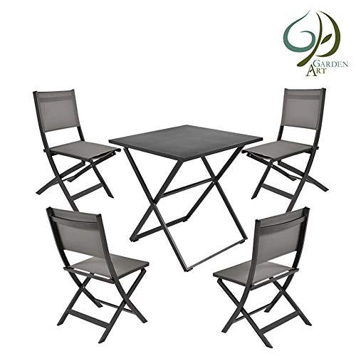 Garden Art Premium Line Juego de 5 Muebles de jardín, 4 sillas de jardín, 1 Mesa de jardín, Silla Plegable de Aluminio Resistente a la Intemperie