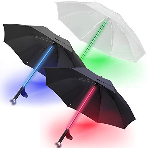 3 PACK - LED Lightsaber Light Up Umbrellas with 7 Color Changing Effects | Windproof Golf Umbrellas with Flashlight Handle (Ed.1)
