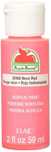 Apple Barrel Acrylic Paint in Assorted Colors (2 oz), 20488, Neon Red