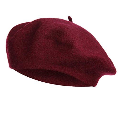 VGLOOK - Gorro - para Mujer Rojo Rojo Vino Talla única