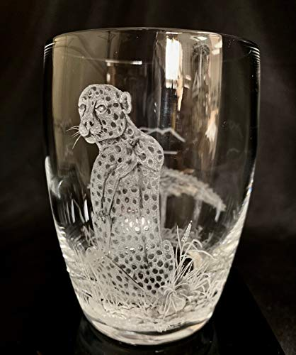 Hand Engraved double old fashion glass Cheetah, Cheetah, Engraved Glass, African Art, Crystal Glass Engraved, Etched Animal