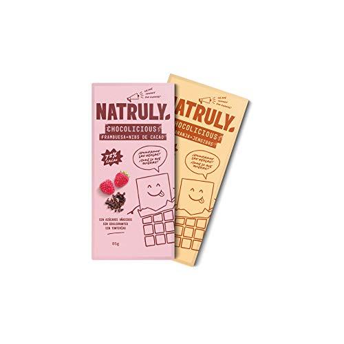 NATRULY Tavoletta di Cioccolato senza Zucchero e Senza Dolcificanti. Addolcita con Fibra di Cicoria -Gusto Arancia, Zenzero e Fragola + Nibs di Cacao Pack 2x85g