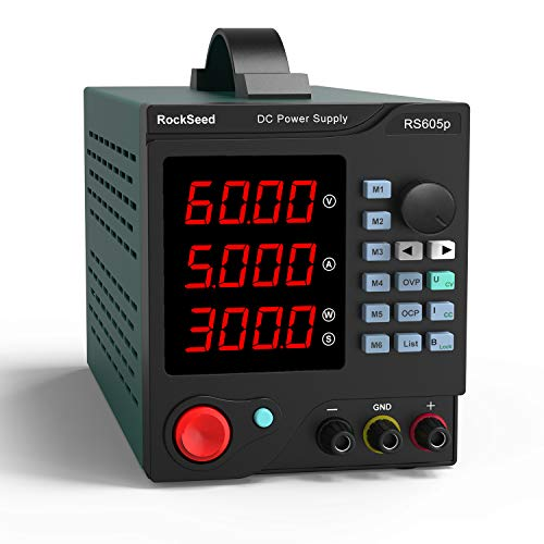 RockSeed RS605P Fuentes de Alimentacion Regulables de Conmutación Ajustable 60V / 5A Variable con Pantalla LED de 4 dígitos/6 Sets de Almacenamiento con software para PC e interfaz USB