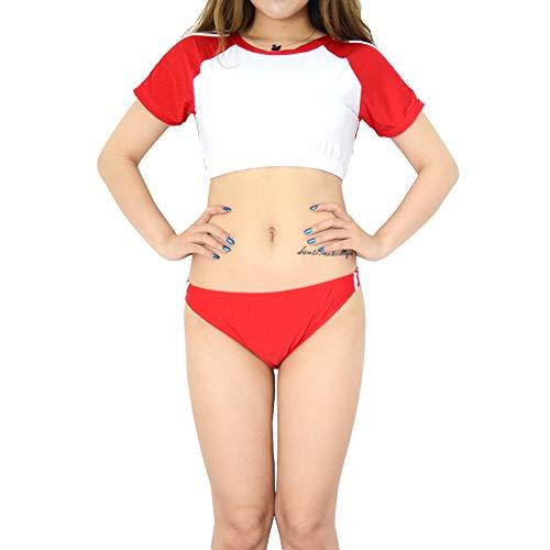 女の子の水着 体操服風 セパレート コスチューム トップス ハイレグ ブルマ体操服かわいいスタイルの女の子の水着体操服風 セパレート コスチューム トップス ハイレグ ブルマ体操服かわいいスタイルの女の子の水着 (1701 L, レッド)