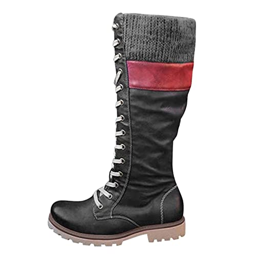 Winterstiefel Lace Up Cowboystiefel für Damen Schuhe Combat boots Langschaft Damen Schnürstiefel Biker Boots Halbhoch Schlupfstiefel mit Plateau rutschfest Warmhalten Outdoor Kampfstiefel Absatz