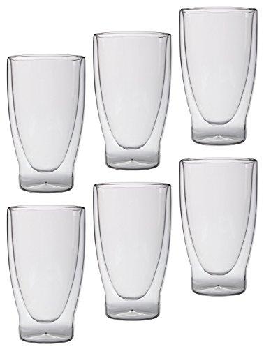 Feelino Lattechino Grande doppelwandige Latte Macchiato-Gläser, 6er-Set 400ml XXL Thermo-Cocktailgläser mit Schwebe-Effekt im Geschenkkarton …