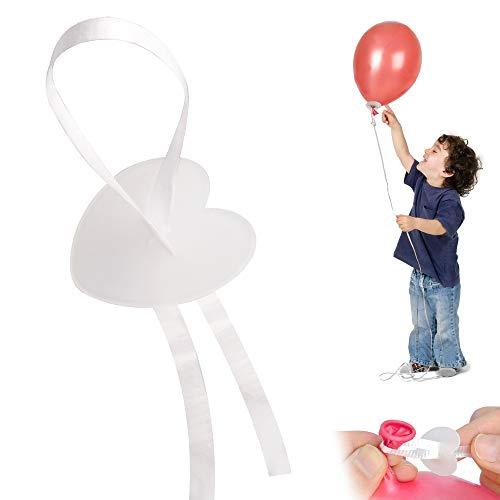 Sporgo Ballonverschlüsse Helium mit Polyband Weiss 100 Ballonband mit Schnellverschluss,Luftballons Verschluss für Dein Geburtstag oder Hochzeit