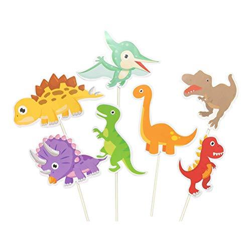 STOBOK 35 Stücke Dinosaurier Kuchen Topper Tier Cocktailspieße Kuchendeko Cupcake Picks Party Deko für Kinderparty Kinder Geburtstag Baby Dusche