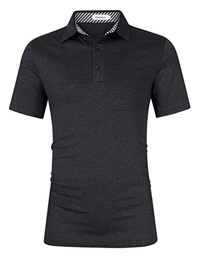 Clearlove Herren-Golf-Tops, einfarbig, lässig, Polohemd. Gr. XL, Schwarz