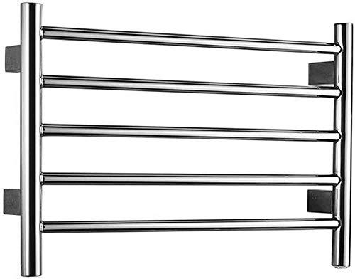 Toallero eléctrico montado en la pared, calentador de toallas de 5 barras, calentador de toallas eléctrico de acero inoxidable, calentador de toallas de cuarta generación, cable duro (enchufe)