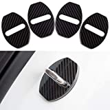 JINZHAO Stainless Steel Car Door Lock Latches Cover Protector Replacement for Audi A3 A4 Allroad A5 A6 A7 A8 Q3 Q5 S3 S4 S6 S7 S8 SQ5 E-tron Car(Pack of 4 (Carbon Fiber Pattern)