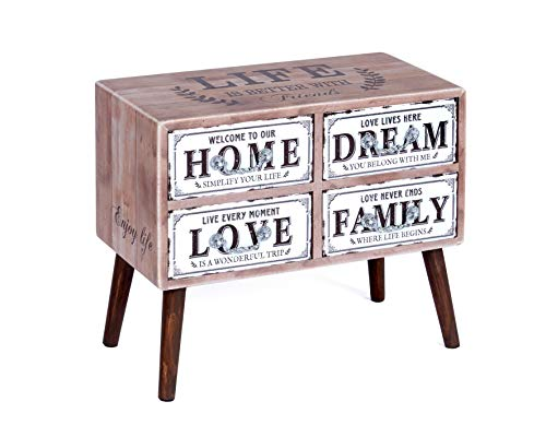 ts-ideen Landhaus commode secretaire kast plank sideboard hout met 4 laden in landelijke stijl 51 x 61 x 31 cm