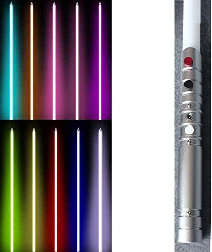 zzj Sable de luz Fx juguete sable fuerza sable láser con sonido y luz de metal Hilt decoloración de plata (RGB puede cambiar de color)
