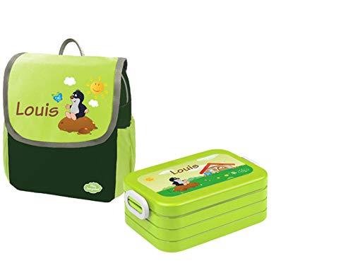 Mein Zwergenland Set 1 Kindergartenrucksack und Brotdose Happy Knirps NEXT mit Name Maulwurf, 2-teilig, Grün