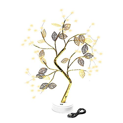 Lámpara de árbol de Bonsai para Mesa, lámpara de árbol LED de Alambre de Cobre con Hojas, árbol de Rama Bonsai Artificial, lámpara de Mesa para Sala de Estar, decoración del hogar